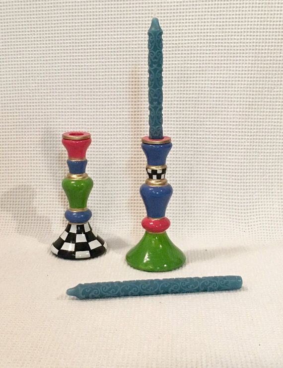 Painted glass candlestick // whimsical candlestick // painted