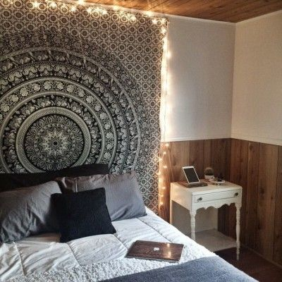 Black And White Floral Elephant Mandala Tapestry Bedroom