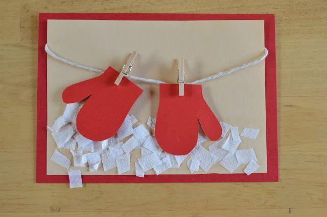 Postales de navidad hechas a mano: Manoplas tendidas | Elenarte
