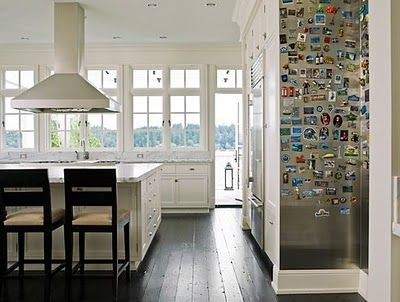 Verdigris Vie (sheet metal magnet board) - love this idea for pics and postcards and stuff instead of cluttering up fridge
