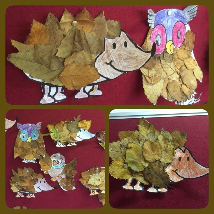 Egels, uilen en vogels gemaakt met bladeren. Leuke knutsel voor in de herfst. Gemaakt van gedroogde herfstbladeren. Knutselen met groep 4!