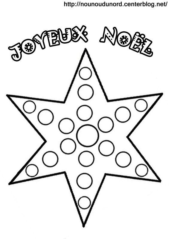 Coloriage à gommettes l'étoile de Noël                                                                                                                                                                                 Plus