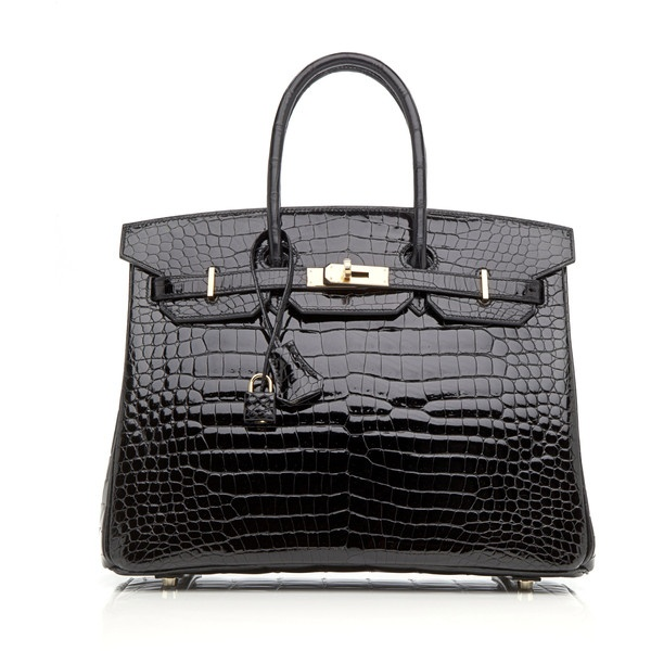 Heritage Auctions Special Collections: 35cm Black Shiny Porosus Crocodile Birkin ($75,000) found on Polyvore