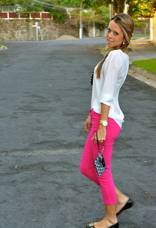 WHITE & NEON  , Zara in Shirt / Blouses, Zara in Pants, Tory Burch in Flats, Coach in Clutches
