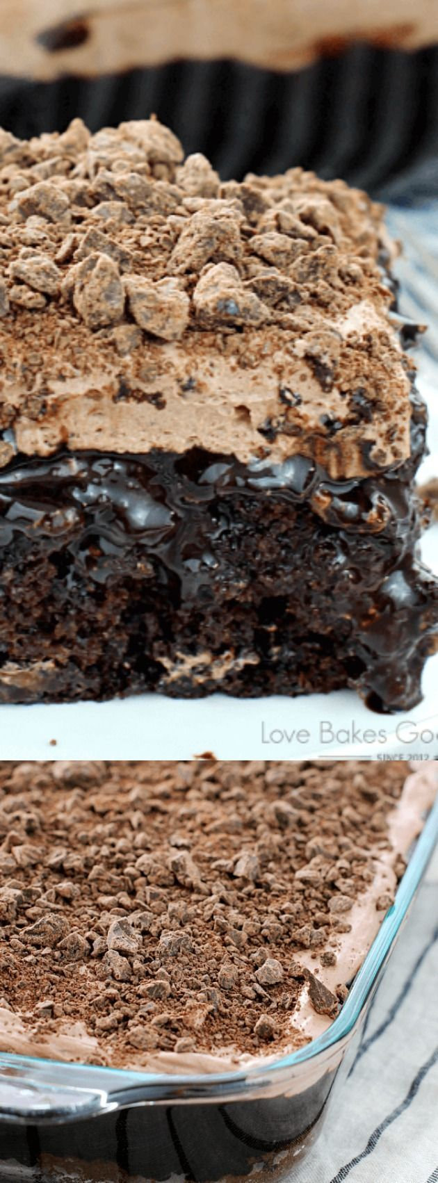 This Death by Chocolate Poke Cake from Love Bakes Good Cakes is the perfect go-to recipe when you want something chocolaty and sinfully delicious. This recipe is seriously a chocolate lovers dream come true. It has chocolate, on chocolate, on chocolate, o