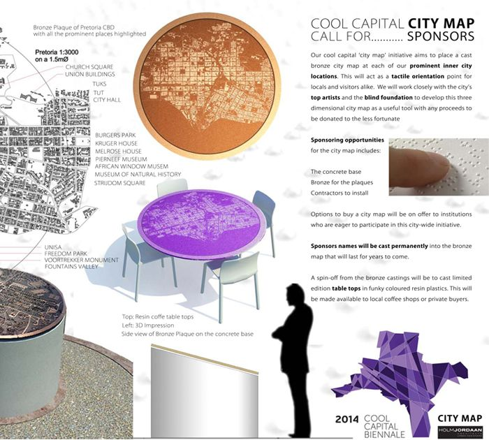 City Map - The 'City Map' initiative aims to place a cast bronze city map at each of the inner city's prominent locations. This will act as a tactile orientation point for locals and visitors alike. Top artists and the Blind Foundation will be consulted to develop this three dimensional city map as a useful tool with all proceeds to be donated to the less fortunate.