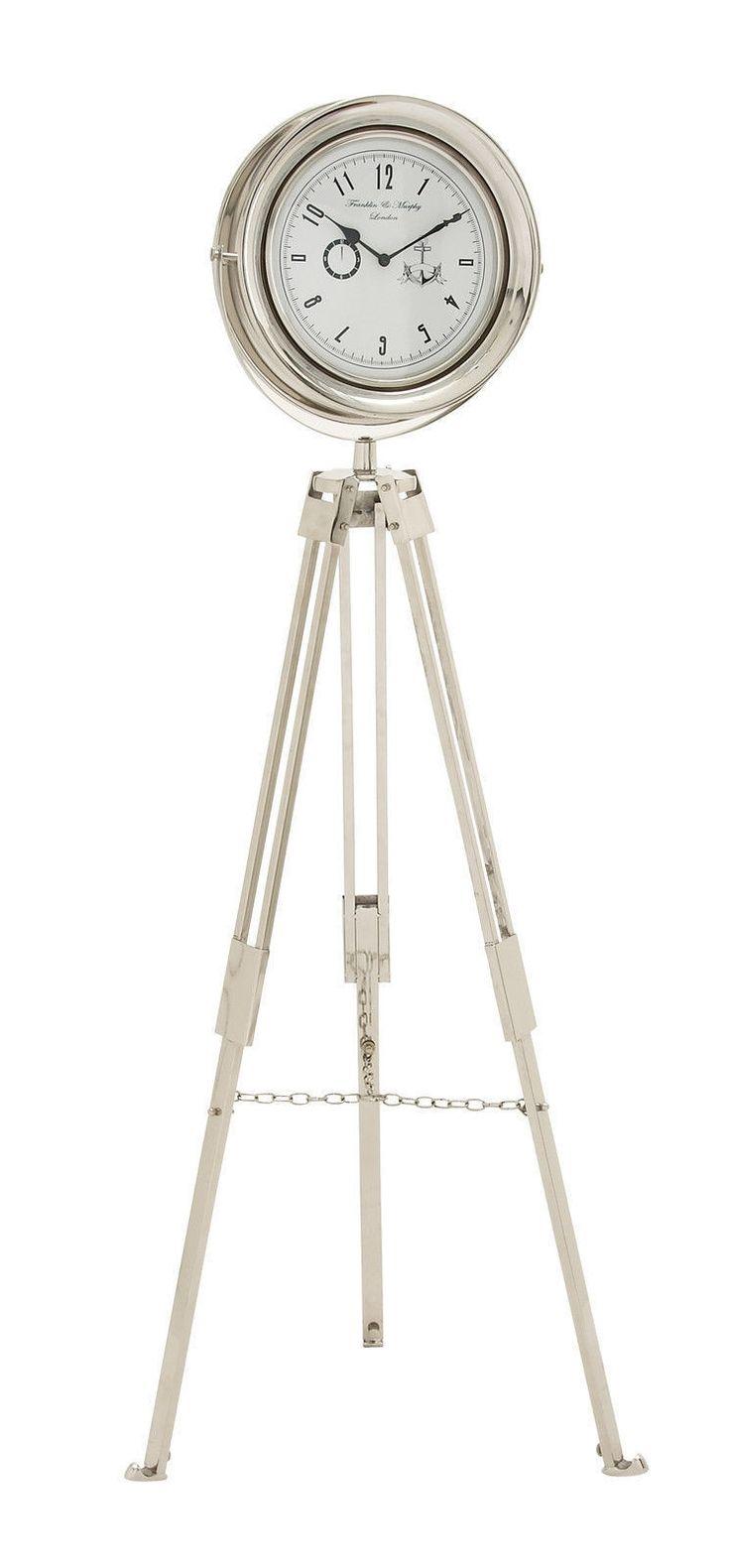 Silver Stainless Steel Tripod Standing Floor Clock Modern Home Decor