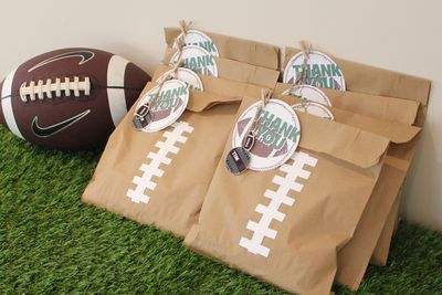 Football Party Favours Stampin' Up! MDS Shrink Art www.stampwithheather.ca