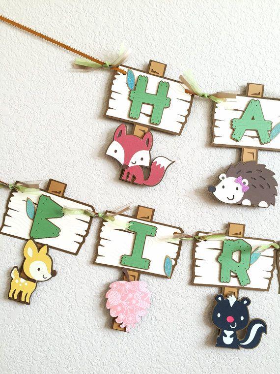 Woodland birthday banner Forest animals birthday by pinkskyshop