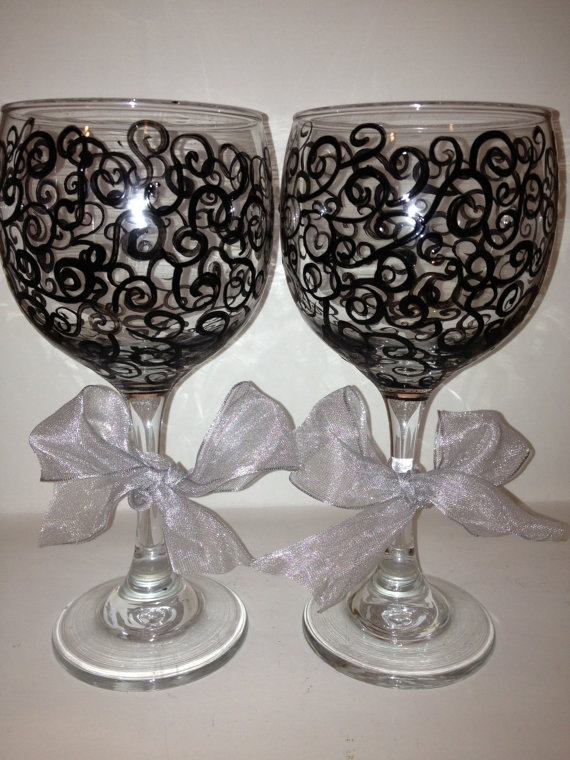 17 best images about painted wine glasses on pinterest for Painted wine glasses with initials