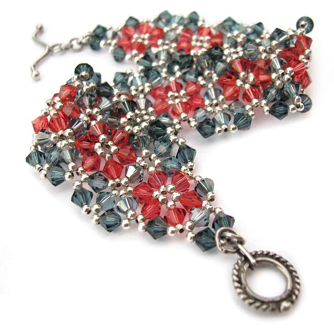 "Bracelet for my mum - Swarovski crystals and sterling silver (Joetta Payne's ""Sparkling Garden"" pattern)"