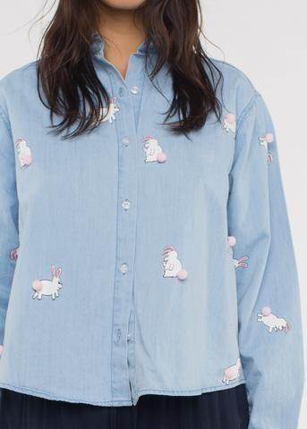 Pom Pom Bunny Shirt Blue