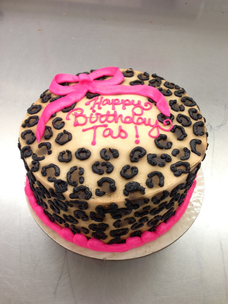 Cheetah print cake with bow