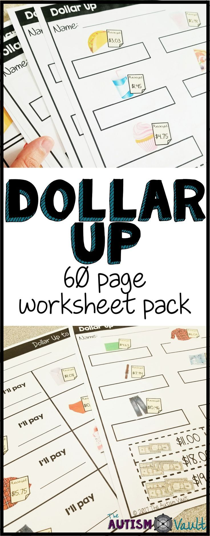 Have your student practice their skills of rounding up to the nearest dollar with the Dollar Up Worksheet Pack by The Autism Vault. There are four levels of worksheets, and three different types of worksheets for each level. If your secondary special education students are working on functional money math skills, this is for you!
