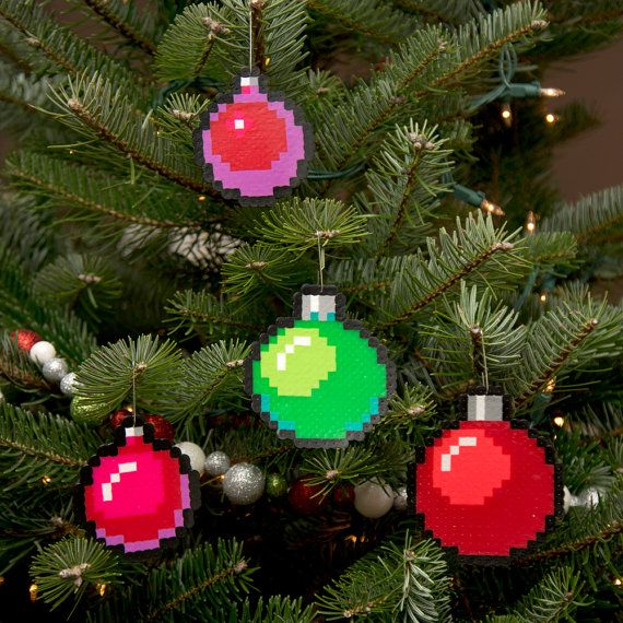 8-Bit Pixel Art Christmas Baubles Set of 4 by adamcrockett