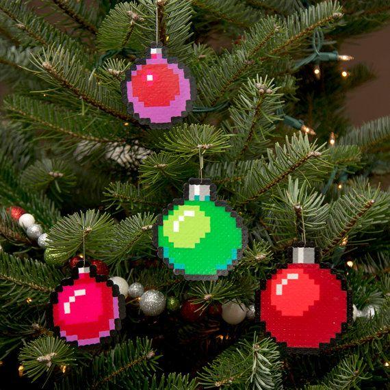 8-Bit Pixel Art Christmas Baubles Set of 4 by adamcrockett