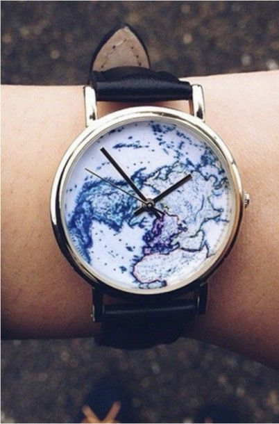 Wheretoget - Black world map watch