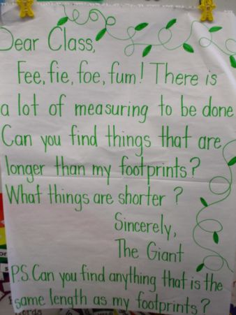 "I copied this last year and made ""feet"" that were exactly 12 inches long for the children to use to measure objects around the room. They loved it!"