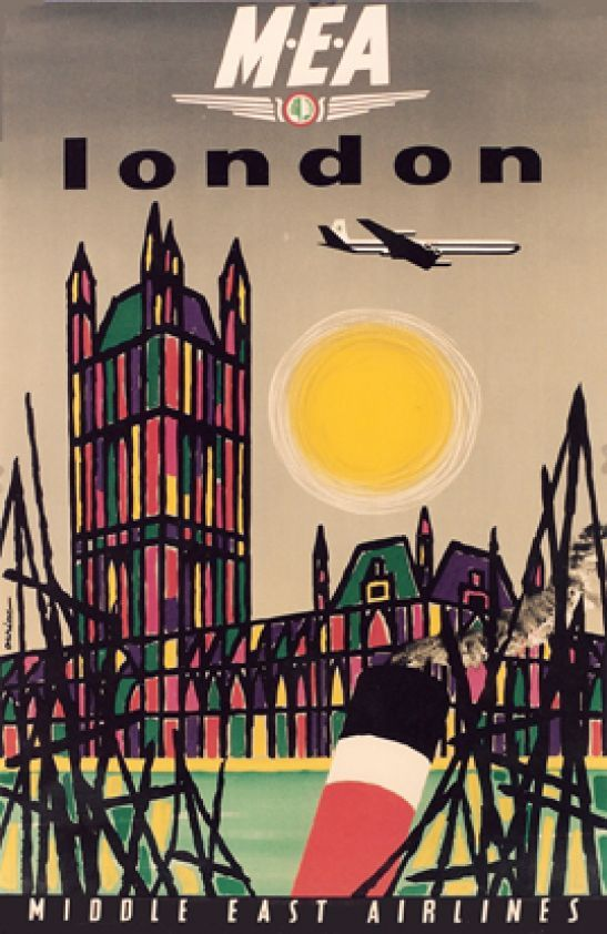 1962 Fly Middle East Airlines to London vintage travel poster