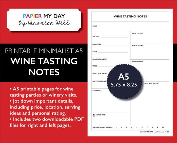 74 best images about organization filofax and planner for Wine tasting journal template