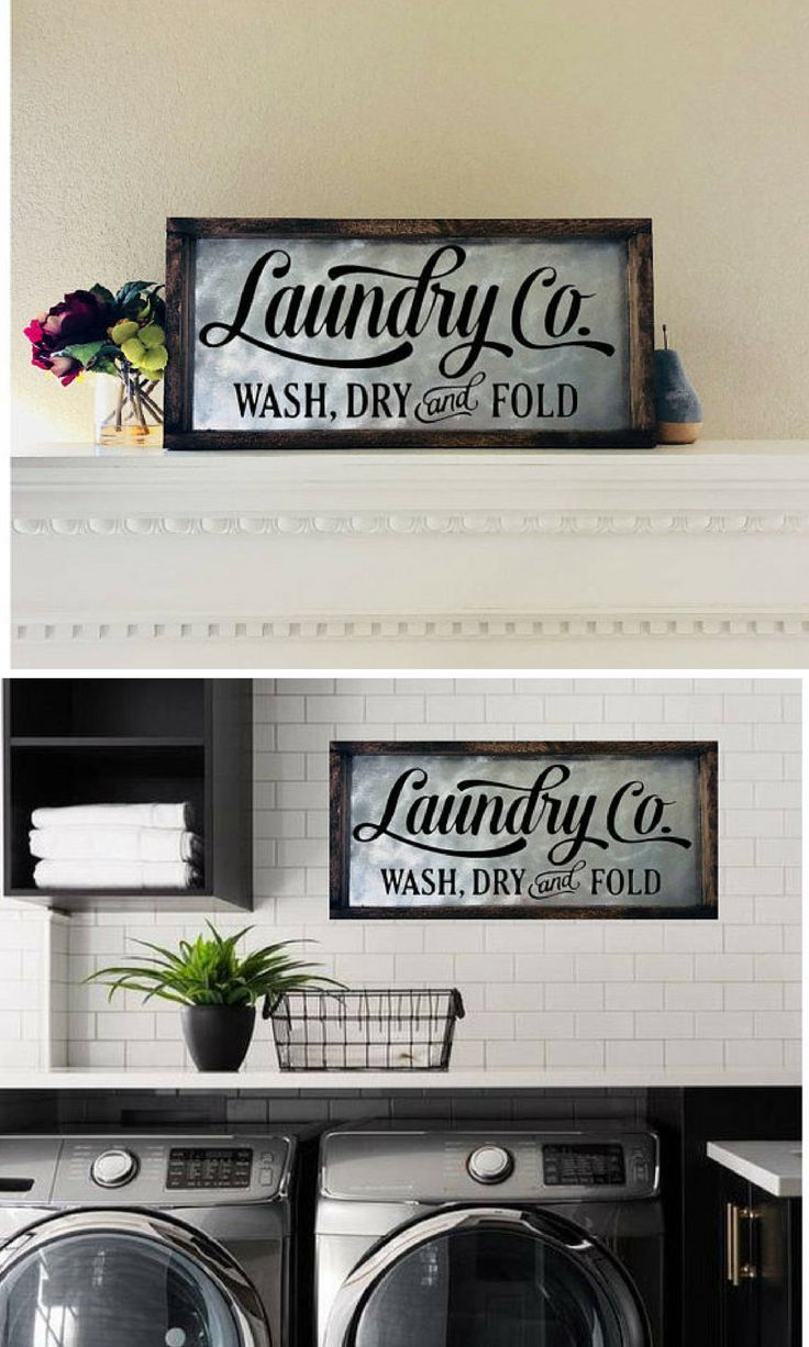 Laundry Room Sign, Laundry Sign, Laundry Room Decor, Laundry Co, Wash Dry Fold Sign, Farmhouse Decor, Fixer Upper Sign, Wood And Metal Sign #affiliate