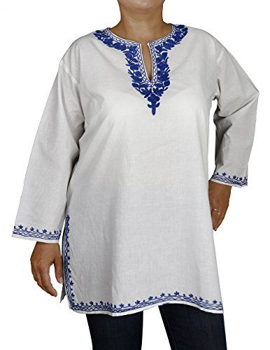 Summer Clothes Indian Kurti Women White Shirt Blue Embroidery Cotton Size L ShalinIndia http://www.amazon.in/dp/B00L235L26/ref=cm_sw_r_pi_dp_Ebo0tb1PV4K1W5GD
