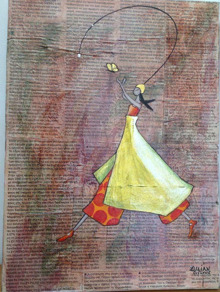 Toile technique mixte collage journal et peinture for Peinture acrylique