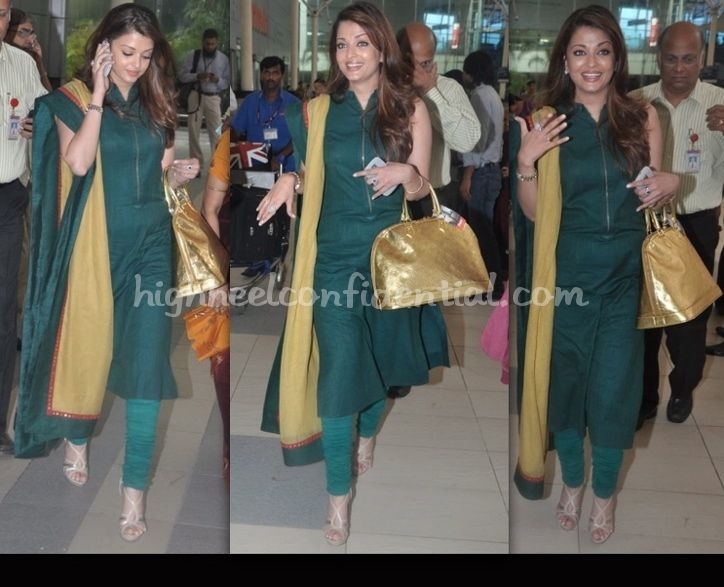 Aishwarya Rai in Sabyasachi..Dark green and mustard yellow chudidar..with high heels...I have same duppatta from one of my salwar kameez set, surely gonna have this look! Sober yet stylish!