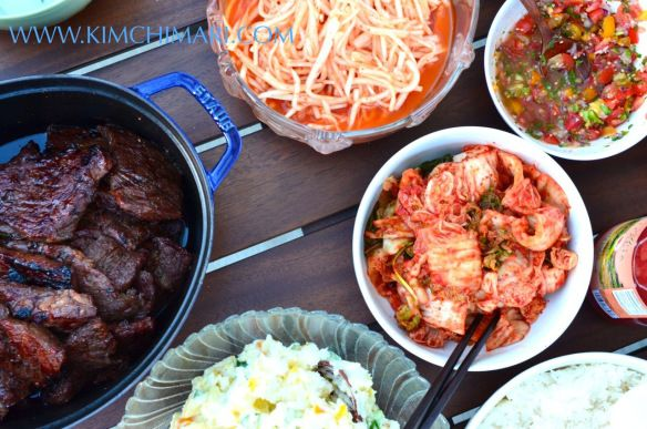 jordans retro  release date Korean BBQ party table with Kalbi Radish Salad Kimchi and Potato Salad Asian Food Recipes  Bbq Party Radish Salad and Korean Bbq