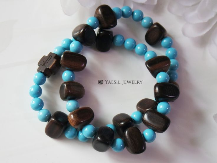 Men's Wooden Rosary Bracelet, Wood and Turquoise Pearl Rosary, Double Strand Stretch Bracelet, Car Rosary, Single Decade Rosary by YaesilJewelry on Etsy