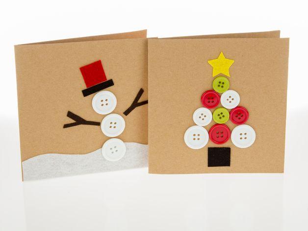 Papermania Create Christmas - Christmas Card Kit (2pk) 2 quadratische Kraftpapierkarten und passende Kuverts, dazu Band, Filz und Knöpfe zum Verzieren der Karten. Schneller geht Karten basteln...