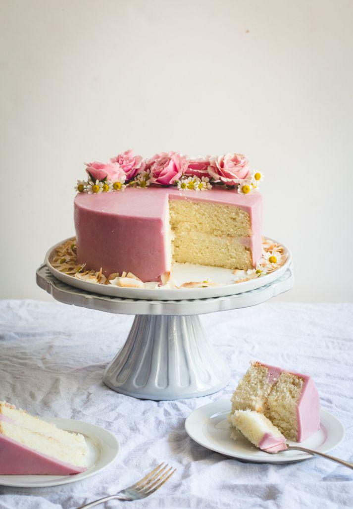 Lemon Cake with Haupia Filling & Hibiscus Buttercream // butterlust.com @butterlustblog