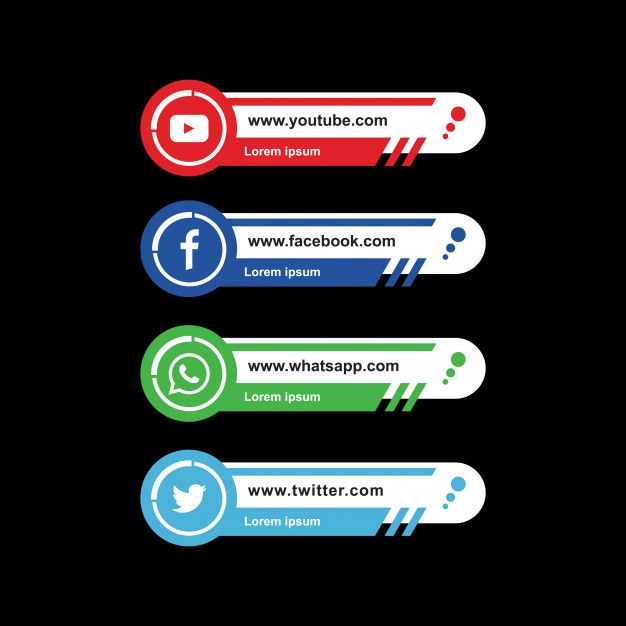 Social Media Lower Third With Facebook Twitter Youtube Logo Collection Social Media Clipart Modern Illustration Png And Vector With Transparent Background Fo Lower Thirds Social Media Deisgn