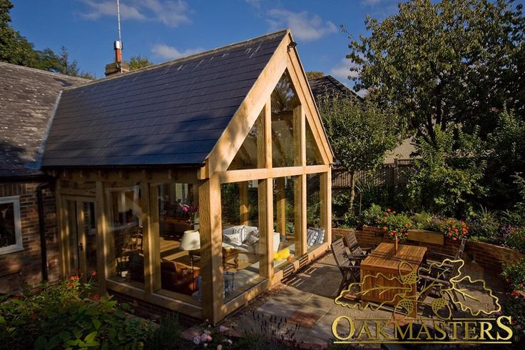 Spectacular oak frame garden room with glazed gable