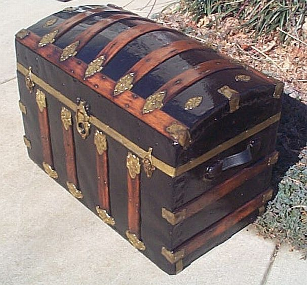 unusual vintage trunk | Unique Large Size Metal and Wood Dome Top Antique Trunk - #214