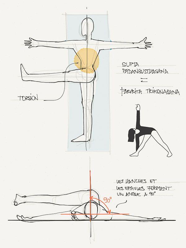 suite de mes notes d'été prise pendant le stage yoga Iyengar et cheval auprès d'ophélia. Notes et dessin de supta padangusthasana 3.