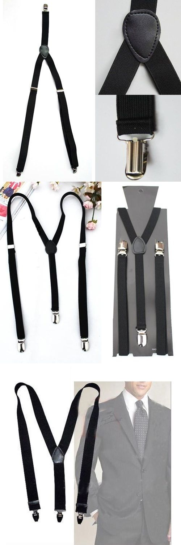 TKOH 2016 Hot Style Adjustable Plain Black Braces Suspenders Heavy Duty Unisex Mens Ladies 1.5cm