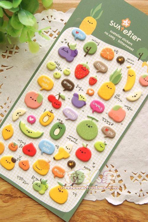 Korean Funny Sticker -Food Vegetable Fruit cute sticker on Etsy, $2.99