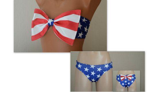 American flag bow bikini top and matching bow bottoms-Swimsuit-Women's swimwear-4th July bikini-American flag bikini-Bathing suit