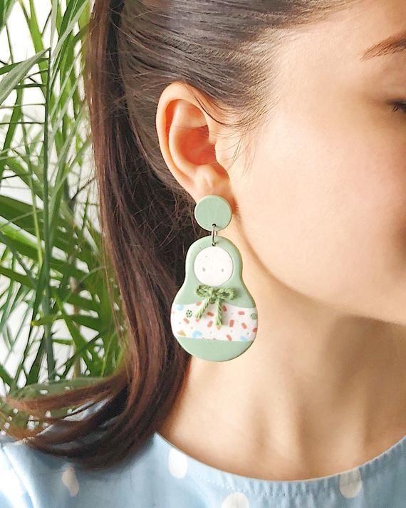 Bohemian matriochka earrings