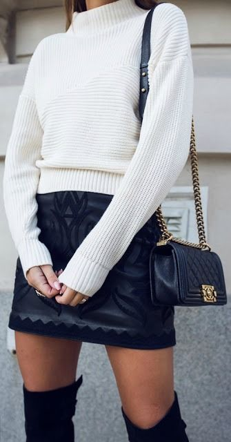 #fall #outfits / knit + leather skirt