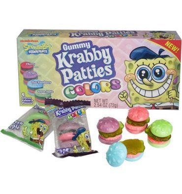 """Avec les Gummy Krabby Patties, des bonbons gélifiés, inspirés du dessin animé Bob l'Eponge, vous allez dévorer des """"crab cakes"""" (pâtés de crabes) en bonbons comme cuisine Bob l'Eponge au Crabe Croustillant. Très drôle, très ludique et trop bon. Une bonne idée cadeau pour les fans de Bob L'Eponge."""