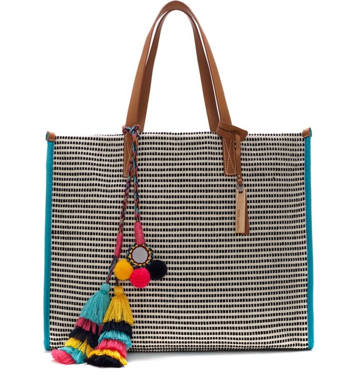 Main Image - Vince Camuto Pria Woven Tote with Tassel Charm