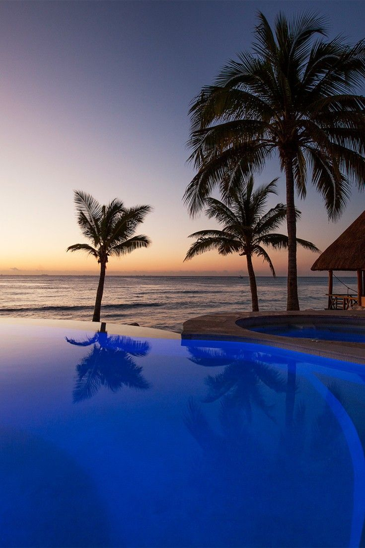 Catch the sunrise by the tranquil infinity pool. #Jetsetter Mahekal Beach Resort – Playa Del Carmen, Mexico