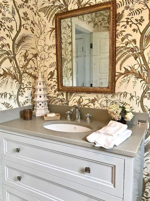 Bathroom design inspiration from Brunschwig & Fils Bird and thistle wallpaper with grey woodwork.
