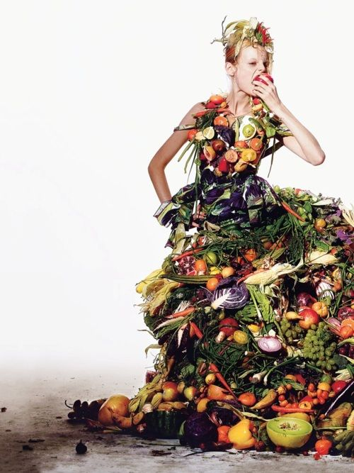 A nutritious and biodegradable dress ;)  t style, 2012, richard burbridge  julia nobis hanne gaby odiele