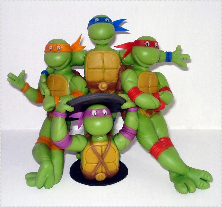 tortugas ninjas adorno de torta en porcelana fría