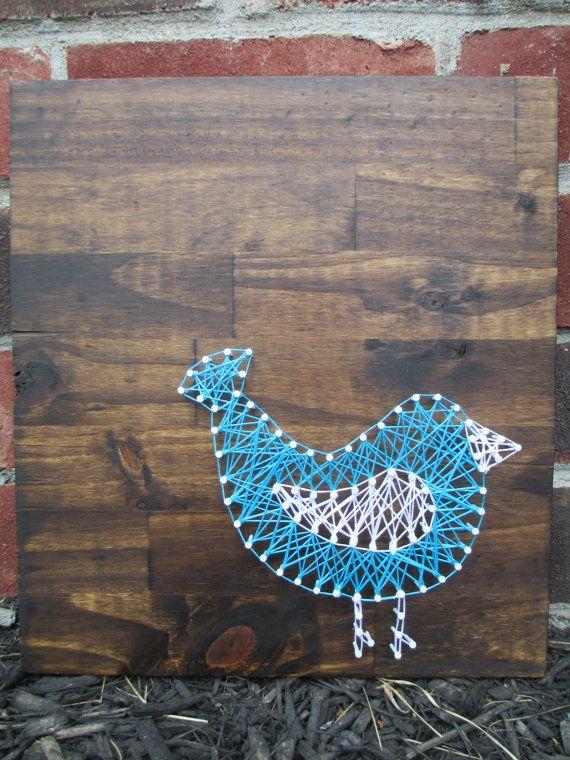String Art Bird Nail and String Art Nursery door AJLyonsDesigns