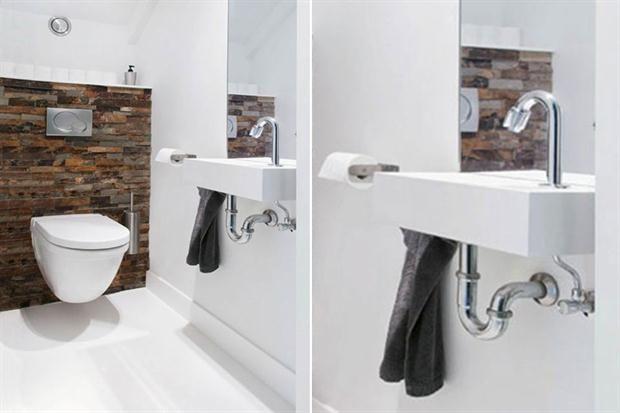 8 ideas para decorar un toilette  El revestimiento símil piedra le da un toque distinto a este espacio con base blanca.         Foto:Clickinteriores.com.br