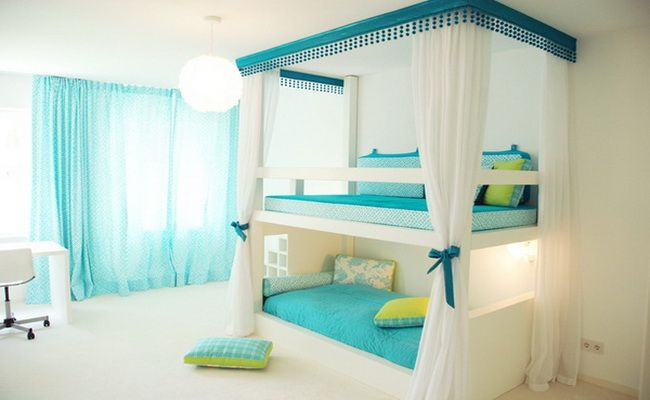 girls bedroom decorating ideas with bunk beds.... Maybe a little too clean and white for my style, but lots of other people might like it!